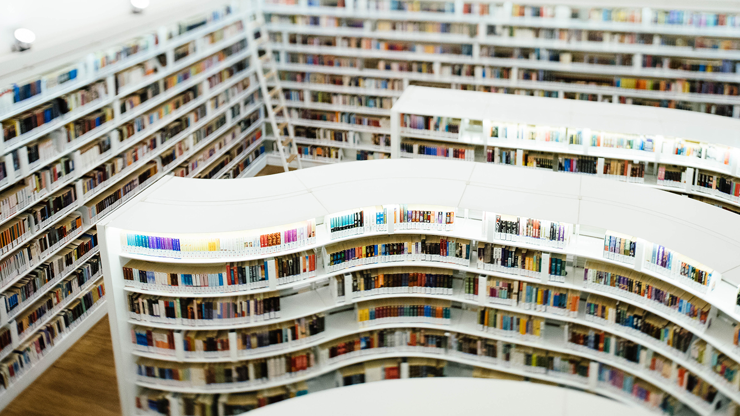 curving library shelves