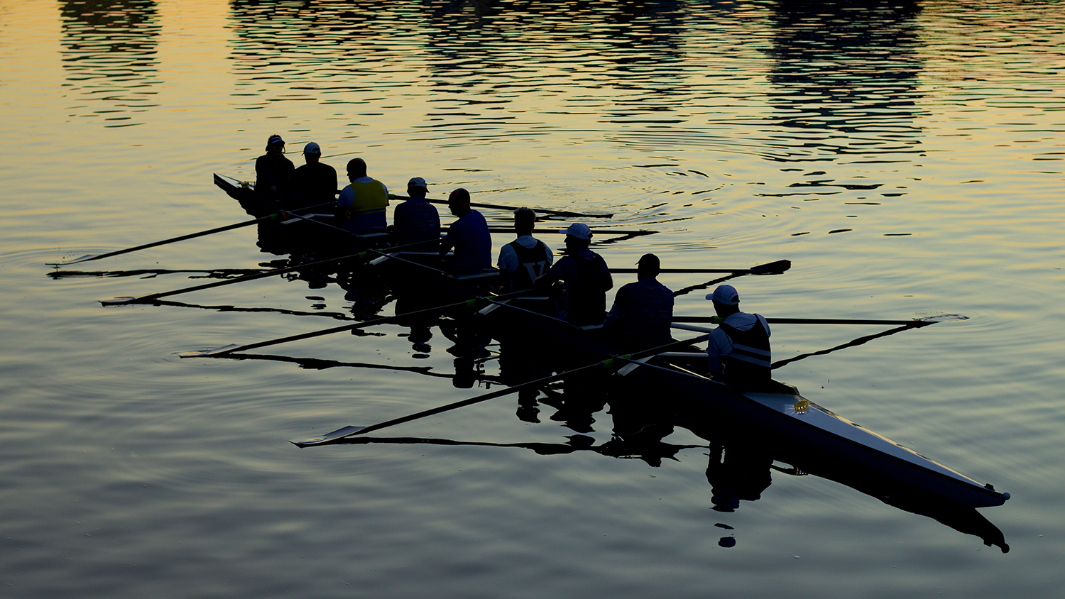 photo of a rowing team on a river