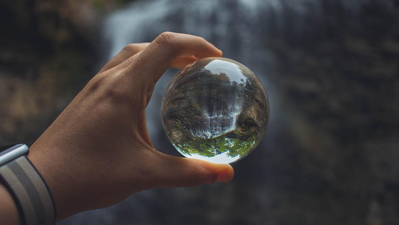 Hand-held glass globe