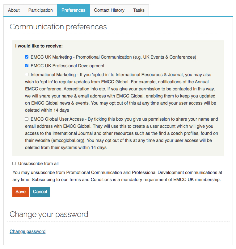 EMCC UK preferences tab