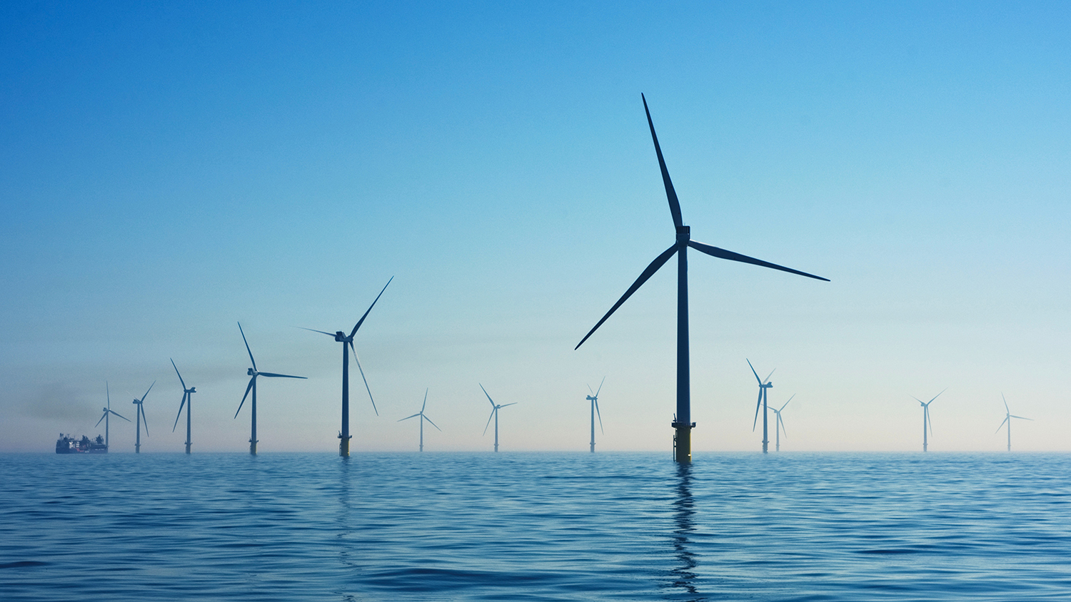 photo of a wind farm in the sea